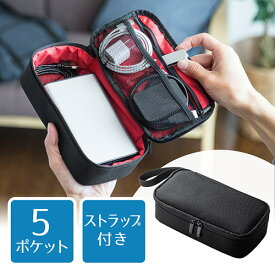 トラベルポーチ 充電器ポーチ ACアダプタ カメラ周辺収納 収納ポーチ 旅行 ブラック 200-BAGIN006BK