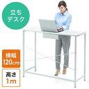 スタンディングデスク(スタンディングテーブル・ミーティングテーブル・オフィスワークテーブル・高さ100cm・幅120cm・立ち作業) EZ1-DESKF010【...
