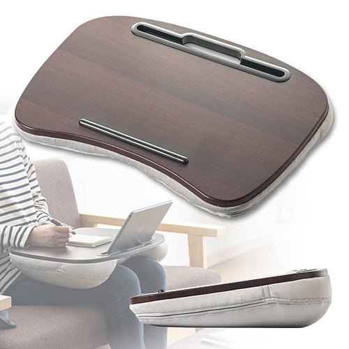 クッションテーブル(膝上・ラップトップ・ノートPC・タブレット・読書・車・ベッド・食卓・ブラウン) EEX-KOT02【送料無料】
