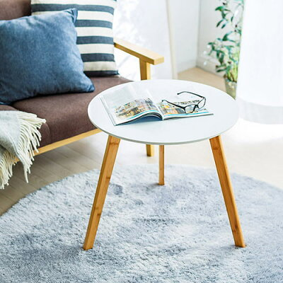 ローテーブル(円・木製・白・軽量・インテリア・おしゃれ・高さ55cm・幅60cm)