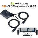 KVMスイッチ 2台切替 KVM切替器 パソコン切替器 USBキーボード USBマウス用 キーボードエミュレーション機能 チルトホ…