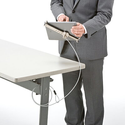 タブレット・iPadセキュリティワイヤー(汎用タイプ・7インチ〜10インチ対応・シルバー)