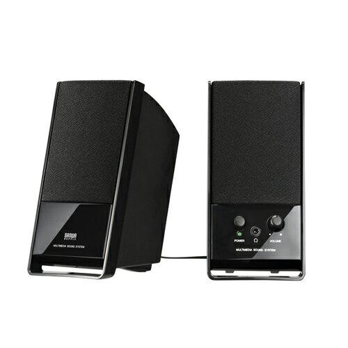 大迫力の高音質、ケーブル巻き取り機能付パソコン用マルチメディアスピーカー(ブラック) MM-SPL3BK サンワサプライ