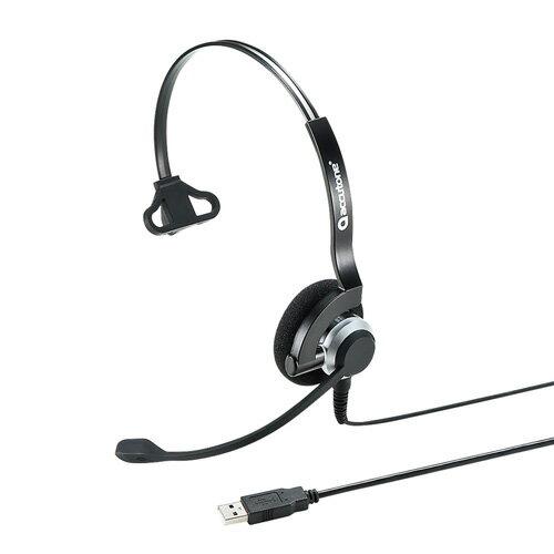 USBヘッドセット(片耳・手元スイッチ・スカイプ) MM-HSU07BK サンワサプライ【送料無料】