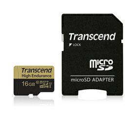 Transcend microSDHCカード 16GB Class10 高耐久 ドライブレコーダー向け SDカード変換アダプタ付 TS16GUSDHC10V【ネコポス対応】