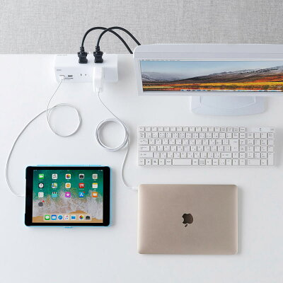 USB充電ポート付き便利タップ(2P・4個口+USB2ポート・一括集中スイッチ・クランプ固定式)