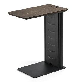 サイドテーブル(デスク・ソファ・ベッド・USB充電器収納・天然木・スチール・ブラック) EZ2-STN030BK