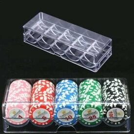 ポーカーチップ セットボックス 透明 ボックス ポーカー アクリル チップ カジノ ゲーム トレイ チップケース カバー付き