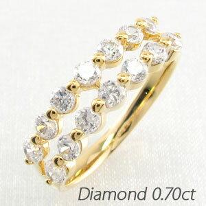 エタニティリング レディース ダイヤモンド ダイヤ 指輪 2連 ダブル ハーフエタニティ 豪華 ゴールド k18 18k 18金
