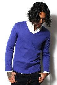 【値下げ価格】MS.ANTLOOP ミスアントループ V-neck Knit Sweater BLUE(ブルー) 雑誌BITTER掲載ブランド メンズ ニット セーター Vネック