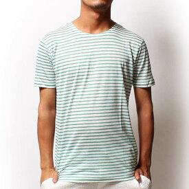 【値下げ価格】RICORZO リコルゾ リネンボーダーTシャツ GREEN(グリーン) メンズファッション トップス Tシャツ 半袖 クルーネック ボーダー