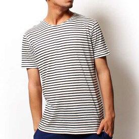 【値下げ価格】RICORZO リコルゾ リネンボーダーTシャツ BLACK (ブラック) メンズファッション トップス Tシャツ 半袖 クルーネック ボーダー