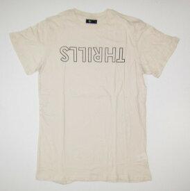 【値下げ価格】THRILLS スリルズ DESTROY OUTLINE LOGO T-SHIRT NATURAL Tシャツ 半袖 プリント サーフ ロンハーマン クルーネック tcss banks Lightning Bolt ライトニングボルト DEUS デウス