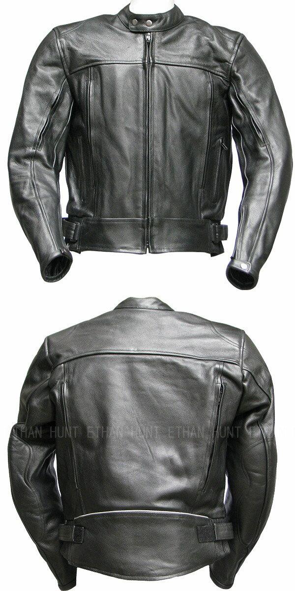 【Clooney】J03 本革 牛革レザージャケット メンズ 革ジャン シングルライダース バイク 皮ジャン 黒 送料無料