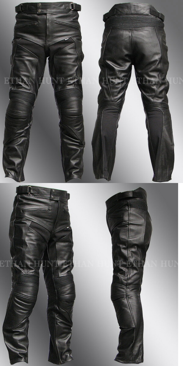 P08 本革 カウハイドレザーパンツ【牛革】【送料無料】ブーツアウト メンズ【Clooney】革パンツ バイク用