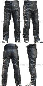 MP08 本革 パンチングレザーパンツ メッシュ【牛革】【送料無料】ブーツアウト メンズ【Clooney】革パンツ バイク用