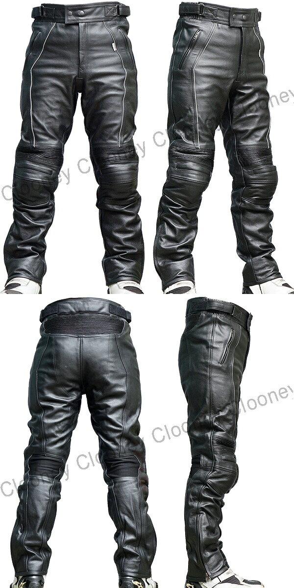 【Clooney】P02 膝カップ入り 本革 カウハイド 牛革  レザーパンツ ブーツアウト
