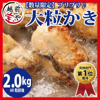 大粒 かき/カキ/牡蠣 2.0kg(60粒前後入)L・2Lサイズ/広島産【冷凍】【あす楽】送料無料