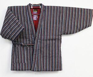 はんてん 四つ紐前合わせ半天 綿入れ 綿絣縞おまかせ 半纏 袢纏 レディース 久留米絣 送料無料 日本製 久留米手作り