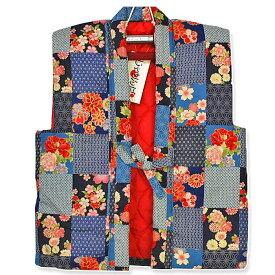 子供用 綿入 袖なしはんてん(ポンチョ・ちゃんちゃんこ) 和柄格子プリント 日本製 子ども こども 綿 袖なし はんてん ハンテン 半纏 半天 半てん