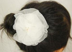 髪飾り 純白コサージュ 手作りフラワー 七五三 着物 3歳 7歳