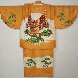 男児正絹合せ一つ身セットカラシ/鷹松 袷でんちセット 一つ身の着物 男の子 きものセット