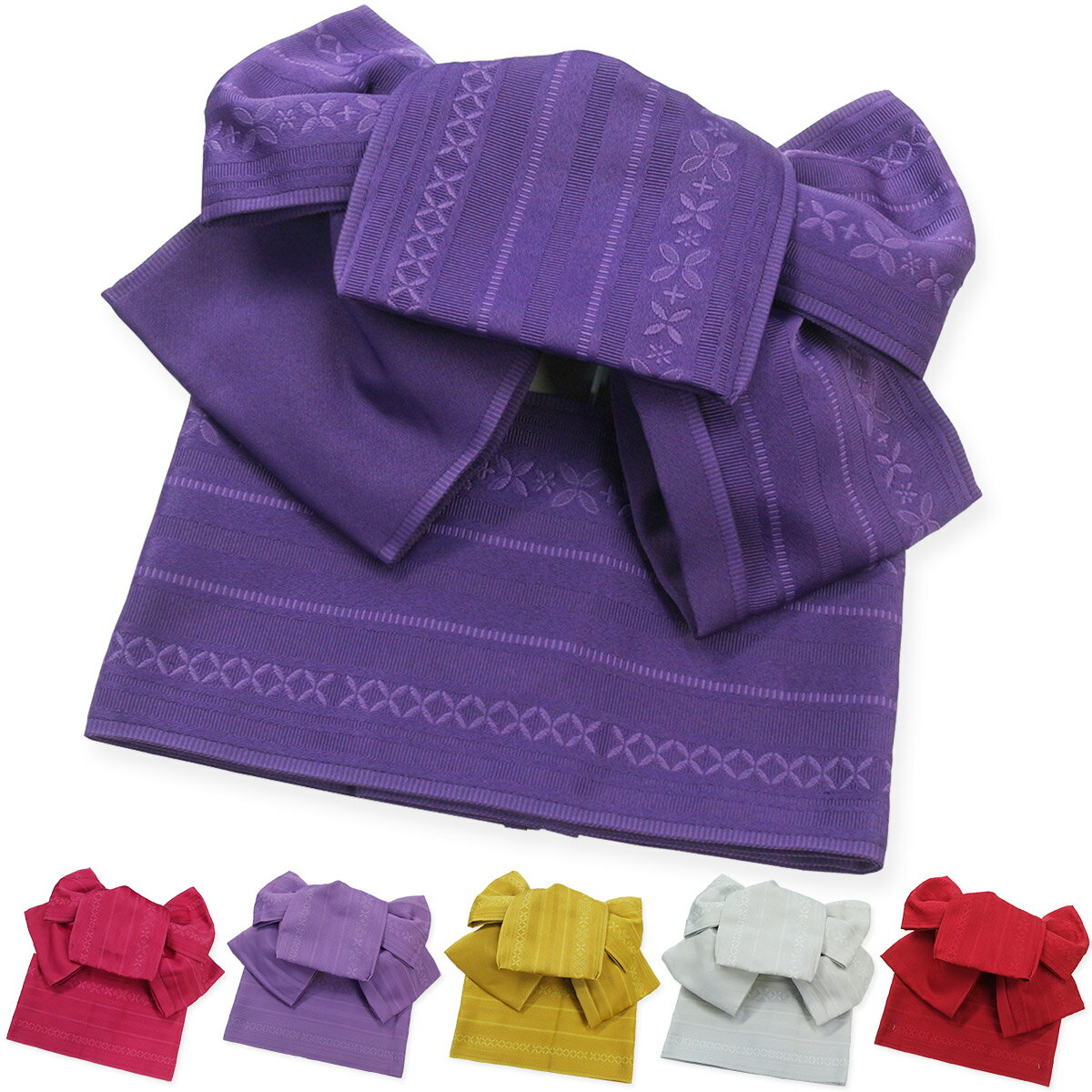 作り帯 七宝献上浴衣帯 両面小袋半幅帯 つばめ結び帯 送料無料