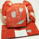 作り帯 浴衣帯 両面小袋半幅帯 オレンジチューリップ
