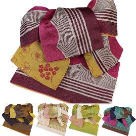 作り帯 浴衣帯 波縞 両面小袋半幅帯 粋 ゆかたおび ゆかた帯 ツバメ結び帯 ワンタッチ帯 レトロモダン