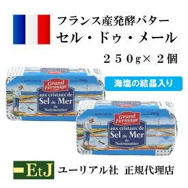 セル・ドゥ・メール250g×2個 フランス産発酵バター 海塩の結晶入り 有塩バター sel de mer セルドゥメール グランフェルマージュ セルドメール チーズのよう
