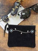 CROSSED ARROWS (クロッシード アローズ) 牛革 本革 シルバースタッズ シルバーフラワー スモールウォレット 日本製 財布 ポーチ カードケース マルチケース 小物入れ