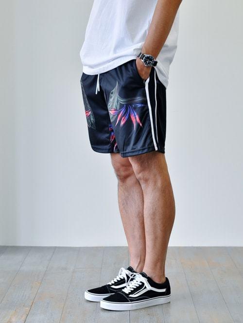 ZANEROBE SIDELINE TRACK SHORT STORM MARLE ゼインローブ ハーフ LOTUS SIDELINE SHORT NAVY 日本未発売 花柄 ライン 入り メンズ ショートパンツ