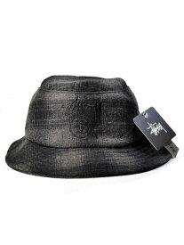 STUSSY Folk Band Bucket HAT USA ステューシー アメリカ バケットハットウール 黒グレー チェック ハット 帽子 海外輸入品