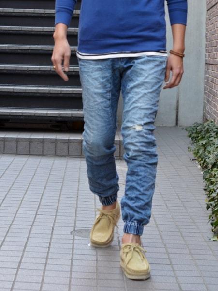 ZANEROBE(ゼインローブ) デニムダメージジョガーパンツ リラックス パンツ  ダメージデニム ブルー 36インチ 大きめ オーストラリア インポート