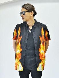Rolla's BON SHIRT - BLACK FIRE ローラス ファイヤー カジュアルシャツ メンズ半袖シャツ 炎 ファイヤーパターン 大きめシャツ
