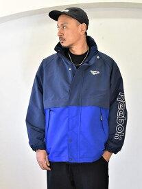 Reebok 限定生産 リーボック セイリングジャケット BLUE フィールドジャッケット アウトドア マンパー メンズ ナイロンジャケット フード付き 大きめ ゆっくり コート