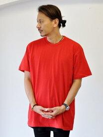 Upcycle Heavy Weight Crew Neck Tee RED ヘビーウェイト Tシャツ 赤色 大きめ 着丈長め  メンズ XXL BIG T