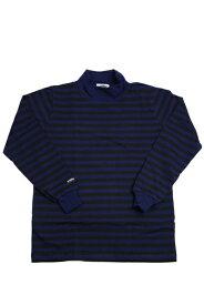 バーバリアン メンズ 長袖モックネックラガーシャツ OFE-16 8オンス ライトウエイトコットン100% ボーダー ブラックxネイビー