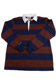 バーバリアン メンズラガーシャツ レギュラーカラー長袖 3インチ ボーダー 12oz ヘビーウエイトコットン100% クラシックモデル ネイビー・ハーバード