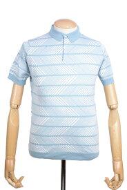 春夏 ジョンスメドレー メンズ 半袖ポロシャツ ハーマン グリーン シーアイランドコットン ジャカードストライプ 英国王室御用達