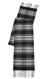 秋冬 ジョンストンズ JOHNSTONS WA16 ピュアカシミア マフラー KU0079 ブラック&ホワイト スチュワート タータンチェック シックス・フッター男女兼用