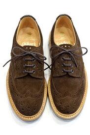 トリッカーズ ウィングチップ バートン Tricker's Bourton カントリーシューズ短靴 チョコレートブラウンスエード ダブル・ダイナイトソール