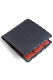 ホワイトハウスコックス s7532 ダービーコレクション 二つ折り小銭入れ付財布 バイカラーモデル フランス産ホースハイド(馬革) 英国製 ネイビー x レッド