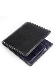 ホワイトハウスコックス WhitehouseCox s7532 コインケース付二つ折り財布 ブラックxネイビー リージェントブライドルレザー ツートン