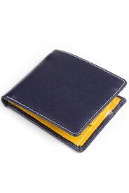 ホワイトハウスコックス WhitehouseCox s7532 コインケース付二つ折り財布 ネイビーxイエロー リージェントブライドルレザー ツートン
