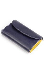 ホワイトハウスコックス WhitehouseCox S7660 コインケース付三つ折財布 ネイビーxイエロー リージェントブライドルレザー ツートン