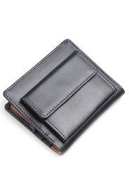 ホワイトハウスコックス WHITEHOUSE COX s1958 二つ折り財布外小銭付き ネイビー x タン ホースハイド(馬革)ノートケース 英国製
