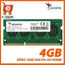 【送料無料】ADATA AD3S1600W4G11-R [4GB DDR3 1600MHz(PC3-12800) 204Pin SO-DIMM 512x8]【ノ...