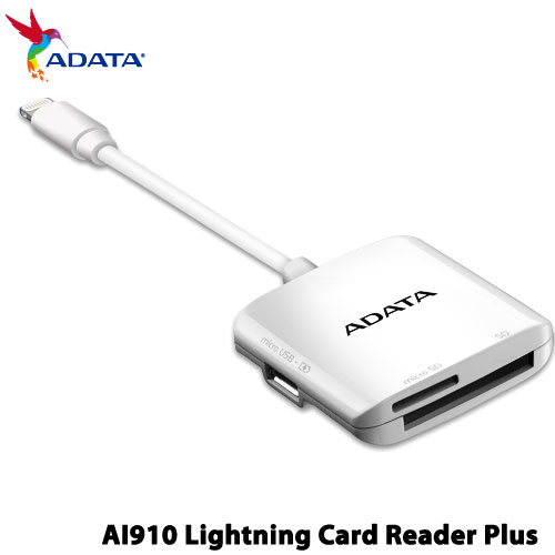 ADATA ALRAI910CWH [Apple Mfi認定 Lightning Card Reader Plus]