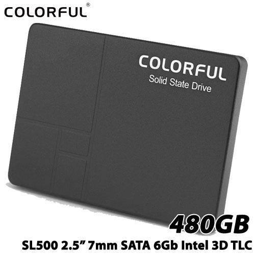 COLORFUL SL500 480G [480GB SSD 2.5インチ 7mm、SATA 6Gb、Intel 3D TLC、SMI SM2258XT、キャッシュレス、3年保証]